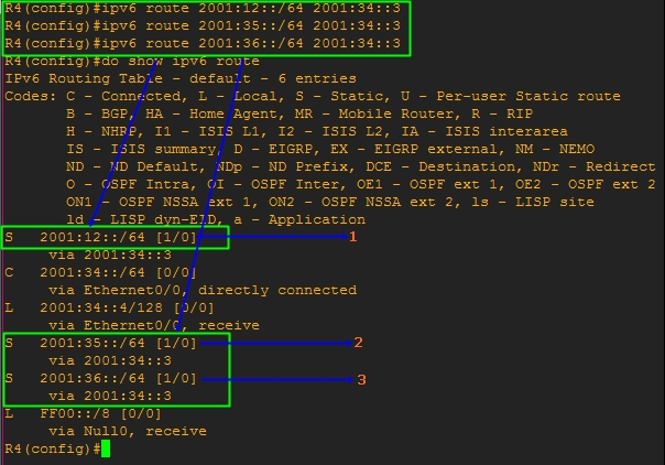 Show IPv6 Route Command on R4