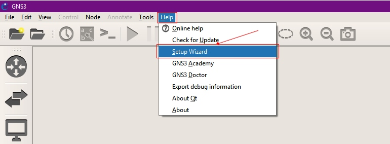Setup Wizard of GNS3