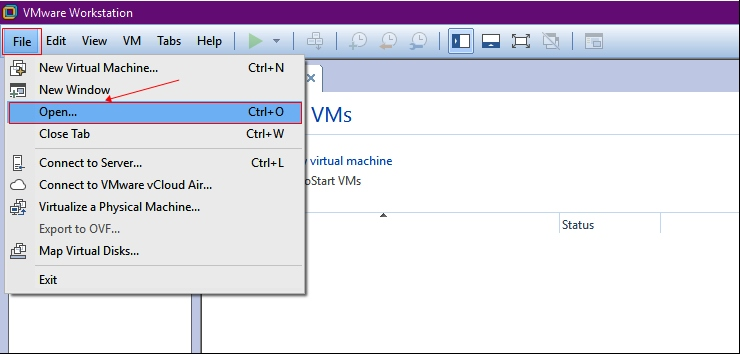 Open the GNS3 VM