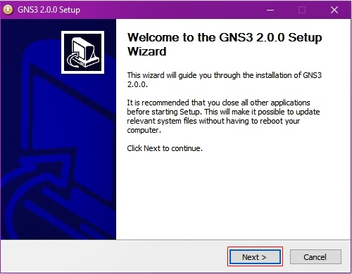 GNS3 Version 2.0.0 Setup Wizard