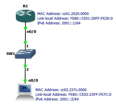 Topology With IPv6 address MAC and Link local Address